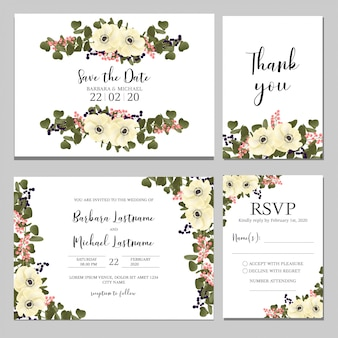 Landscape wedding invitation with anemone bouquet