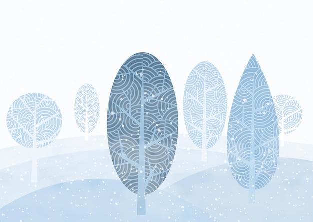 霧と水色の背景に抽象的な木々と冬と雪が降る風景。