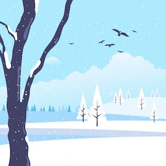 Landscape winter in flat design