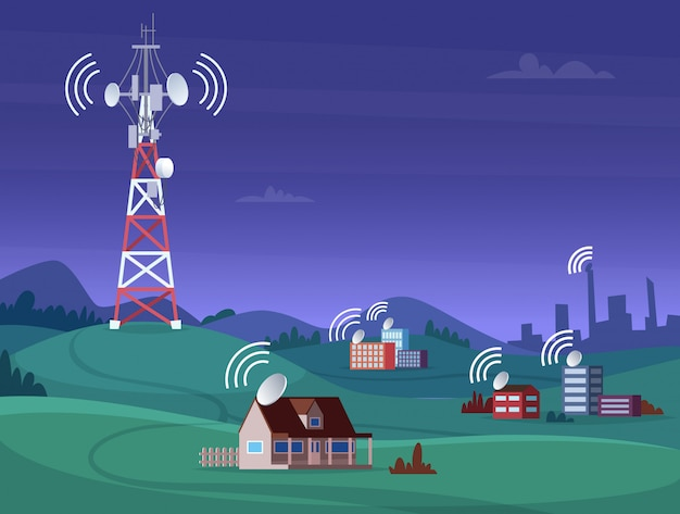 Landscape wireless tower. satelite antena mobile coverage television radio cellular digital signal illustration