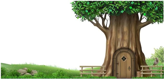 오래 된 오크 나무와 풍경