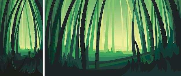 Пейзаж с бамбуковыми деревьями. пейзажи природы в вертикальной и горизонтальной ориентации.