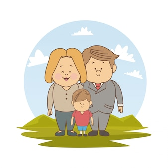 Landscape with blonded mom executive dad and little boy