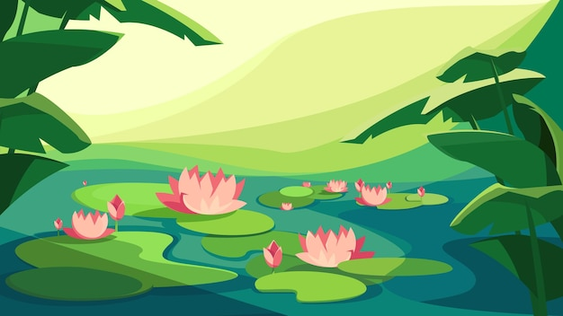 Landscape with blooming lotuses. beautiful natural scenery.