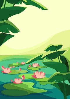Landscape with blooming lotuses. natural scenery in vertical orientation.