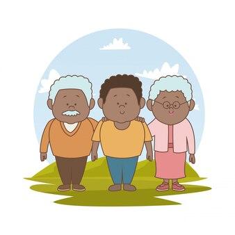 갈색 머리 가족 오래 된 부모와 어린 아들과 함께 프리