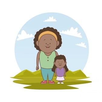 Пейзаж с брюнеткой мать и маленькая девочка