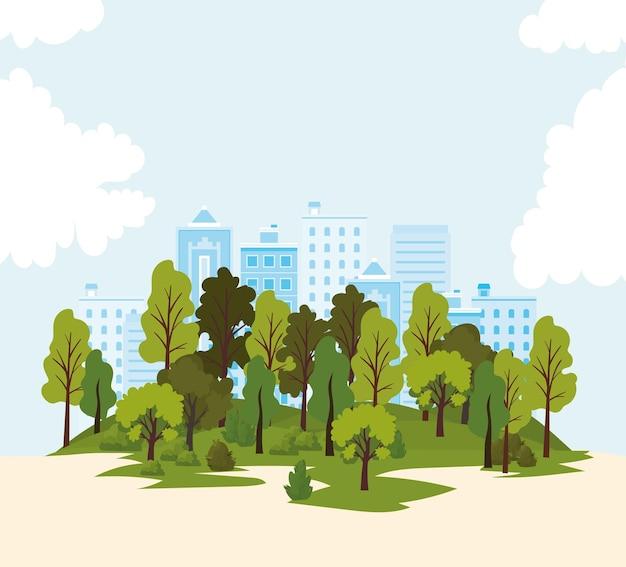 建物、木々、道路のイラストと風景