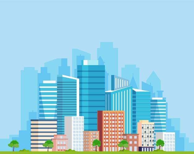 Landscape with buildings.