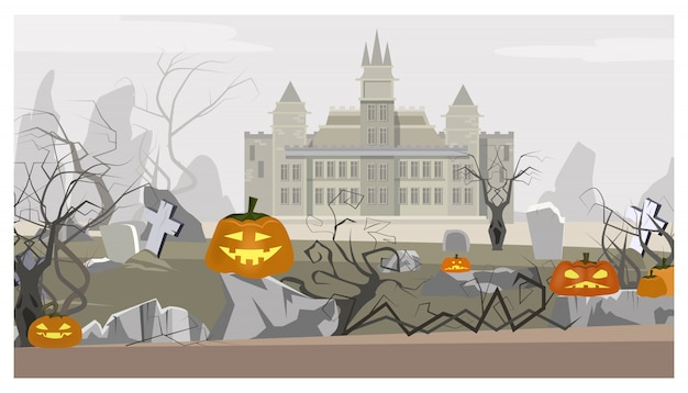 Landscape with castle, cemetery and pumpkins illustration