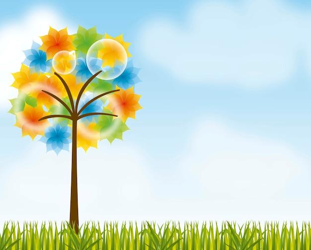 잔디 배경 벡터 위에 화려한 나무와 풍경