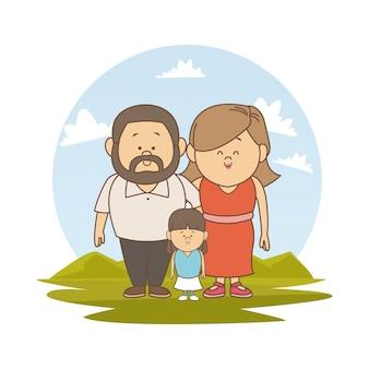 Пейзаж с пару родителей и маленькая девочка