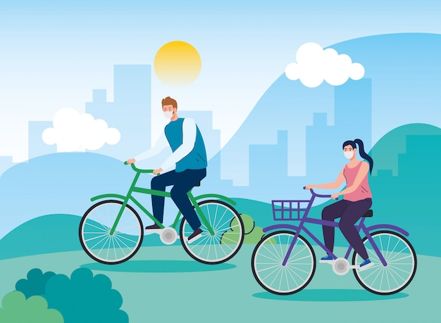 Landscape with couple using face mask in bike