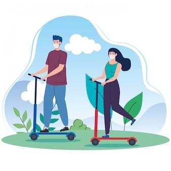 Пейзаж с парой, используя маску в скутере
