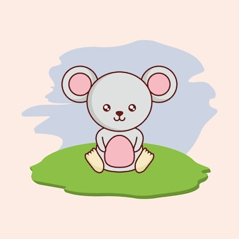 Landscape with cute mouse icon over white background