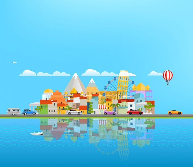 Landscape with different vehicles. travel concept with copyspace