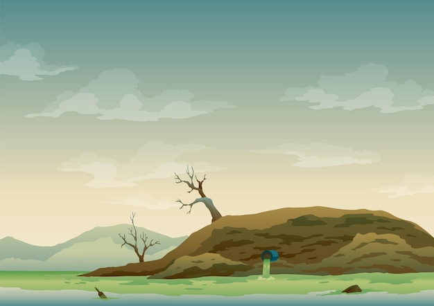 Landscape with ecological disaster. trash emission to river water. polluted earth. contaminated land with dead trees, polluted environment. ecology problem concept in flat style.