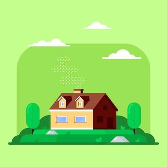 가족 별장 집과 나무와 풍경