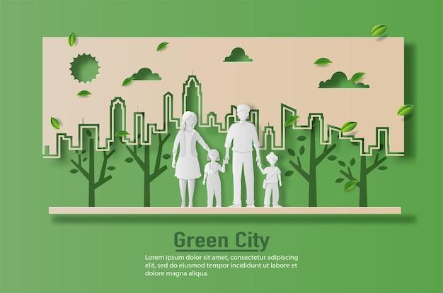Пейзаж с семьей, насладиться свежим воздухом в парке, спасти планету и энергетическую концепцию.