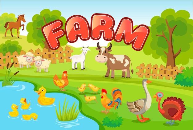 Paesaggio con animali da fattoria