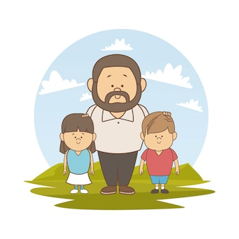 Пейзаж с отцом и пара девушка и мальчик Premium векторы