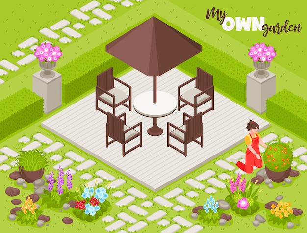 Landscape  with fence flowers and plants isometric
