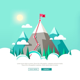 山の上の旗のある風景雲の中の山々