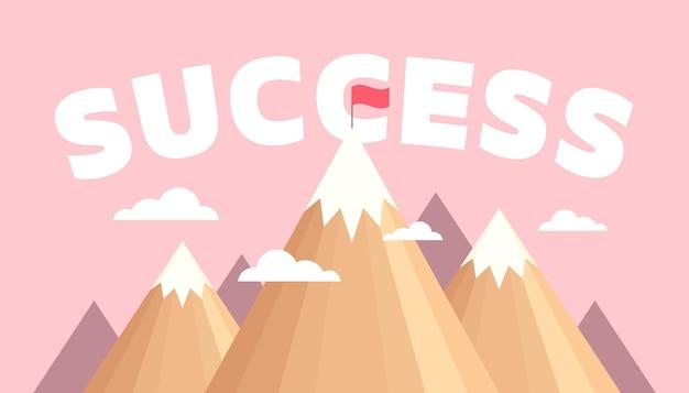 산에 깃발이 있는 풍경. 성공 개념입니다.