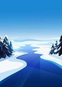 Пейзаж с замерзшей рекой. зимний пейзаж в вертикальной ориентации.
