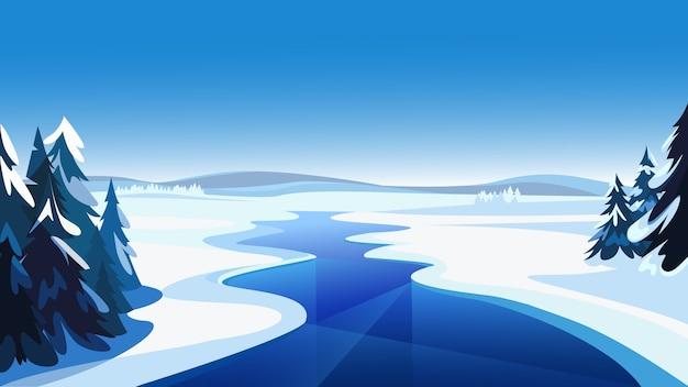 凍った川のある風景