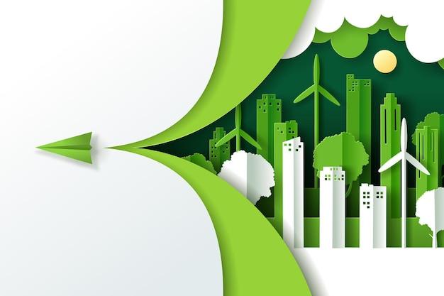 緑のエコ都市、アースデイ、世界環境デーのコンセプトのある風景。