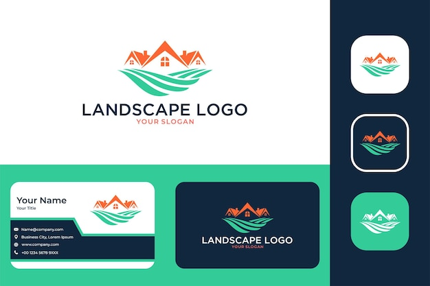 Landscape with house building logo design and business card