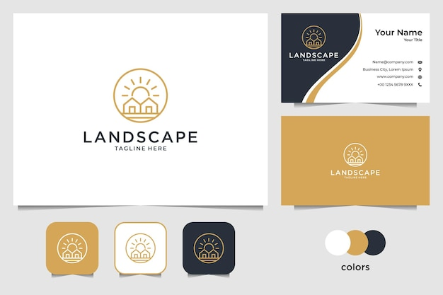 Landscape with house and sun logo design and business card