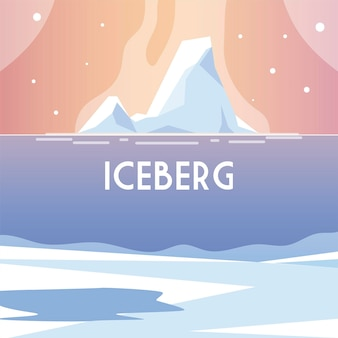 Landscape with iceberg, water north pole scenery  illustration