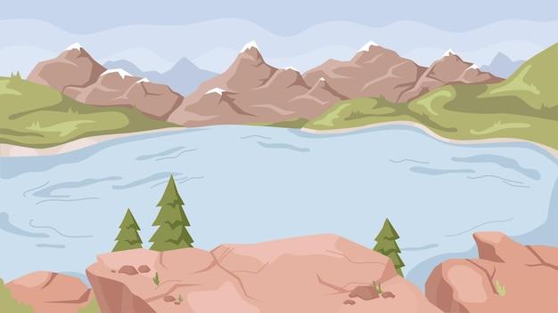 湖の川のロッキー山脈の風景のある風景