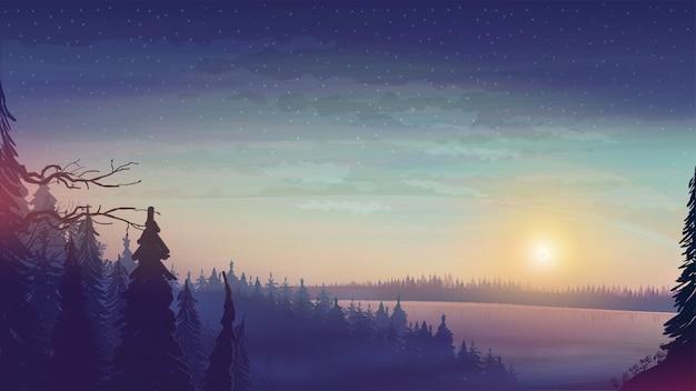 地平線上に大きな湖と松林のある風景。星空と森の夕日