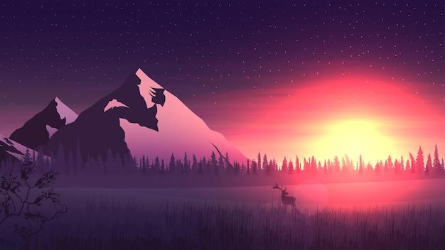 수평선에 큰 산과 소나무 숲, 밝은 오렌지색 일출과 눈 덮인 miadow의 사슴 풍경