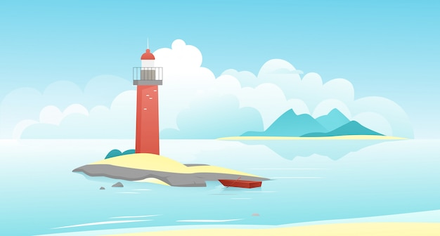 Landscape with lighthouse illustration. cartoon natural peaceful scenery, lighthouse on scenic rock island and moored fishing boat, calm sea water, mountains on horizon, seascape background