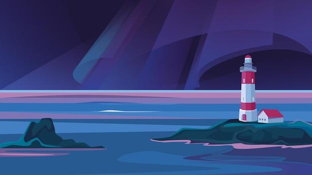 Пейзаж с маяком в ночи