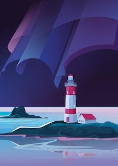 Landscape with lighthouse in the night