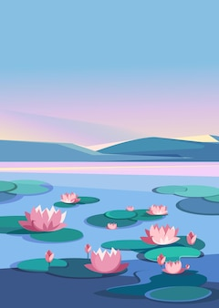 Landscape with lotuses and mountains. natural scenery in vertical orientation.