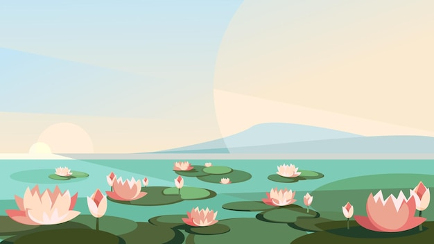 Landscape with lotuses on the river. beautiful natural scenery.