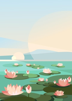 Landscape with lotuses on the river. natural scenery in vertical orientation.