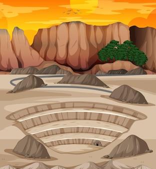採石場のシーンがある風景 無料ベクター