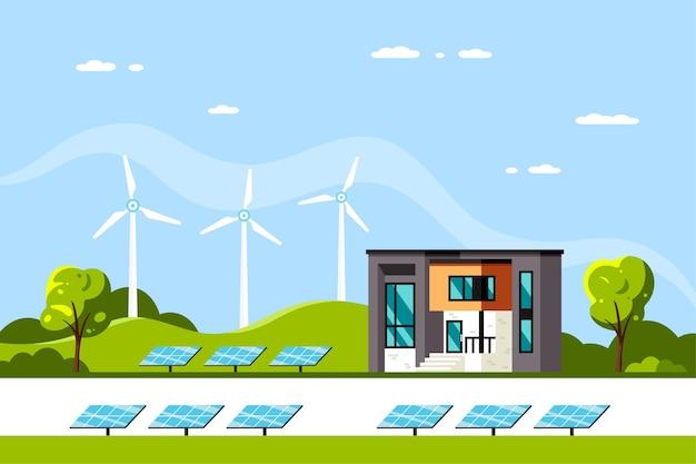 モダンハウス、ソーラーパネル、風力タービンのある風景。エコハウス、エネルギー効果のある家、グリーンエネルギー。