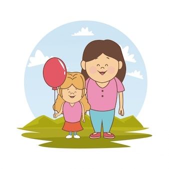 Landscape with mother and little girl with balloon