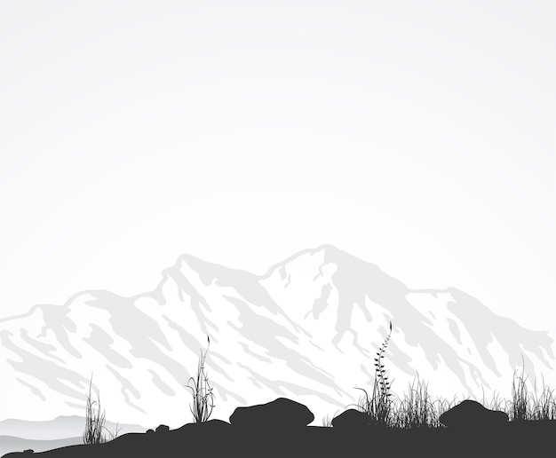 산맥, 잔디와 돌 풍경.