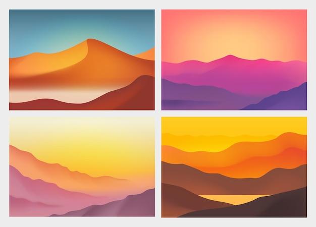 Пейзаж с горами абстрактный фон с современными цветами градиента векторные иллюстрации