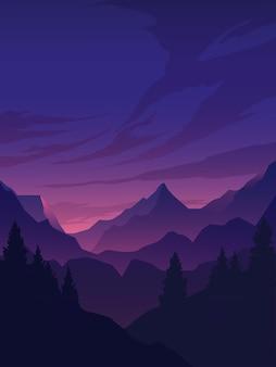 Пейзаж с горами и лесом с соснами в силуэте