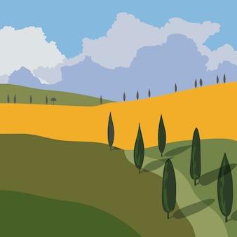 山と丘のある風景